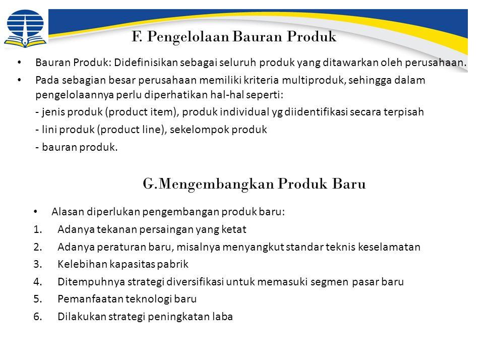 F. Pengelolaan Bauran Produk