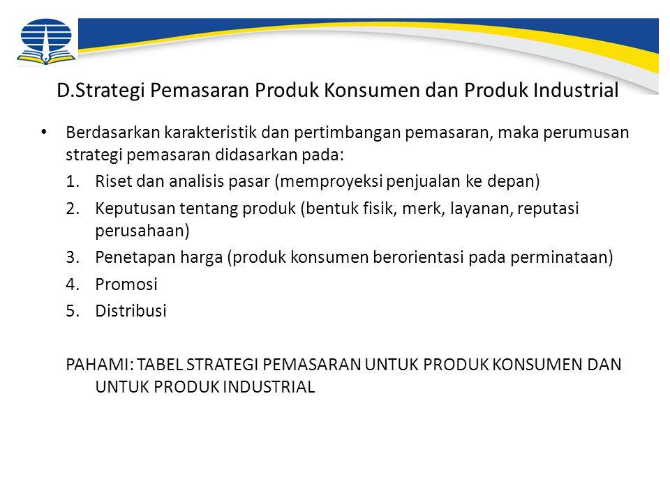 D.Strategi Pemasaran Produk Konsumen dan Produk Industrial