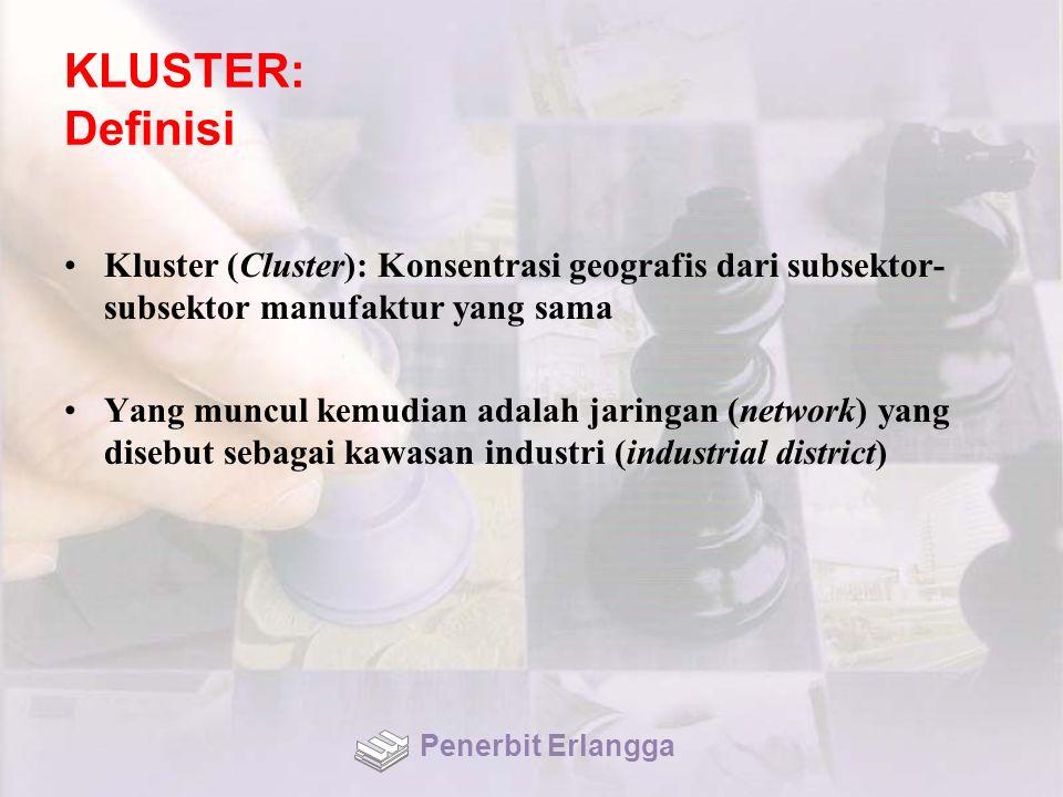 KLUSTER: Definisi Kluster (Cluster): Konsentrasi geografis dari subsektor-subsektor manufaktur yang sama.