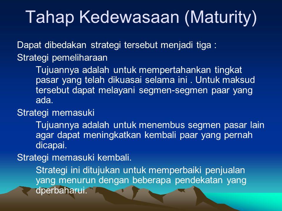 Tahap Kedewasaan (Maturity)