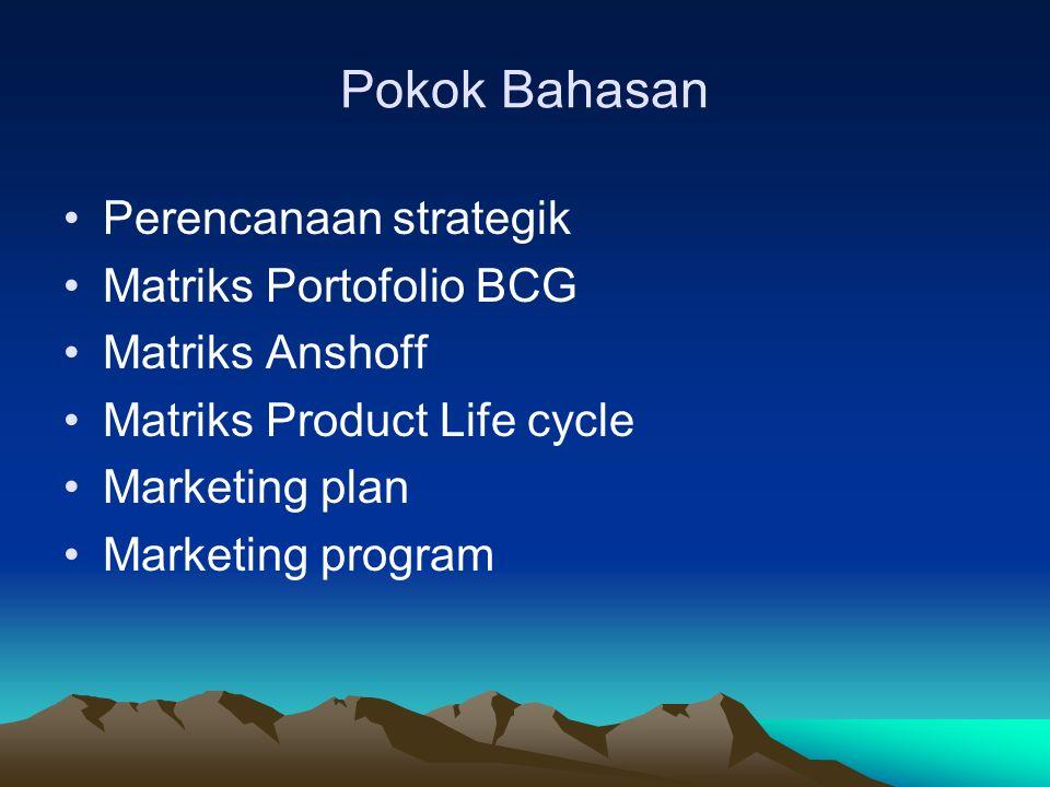 Pokok Bahasan Perencanaan strategik Matriks Portofolio BCG