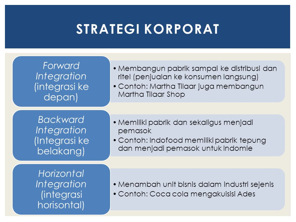 STRATEGI KORPORAT Forward Integration (integrasi ke depan)
