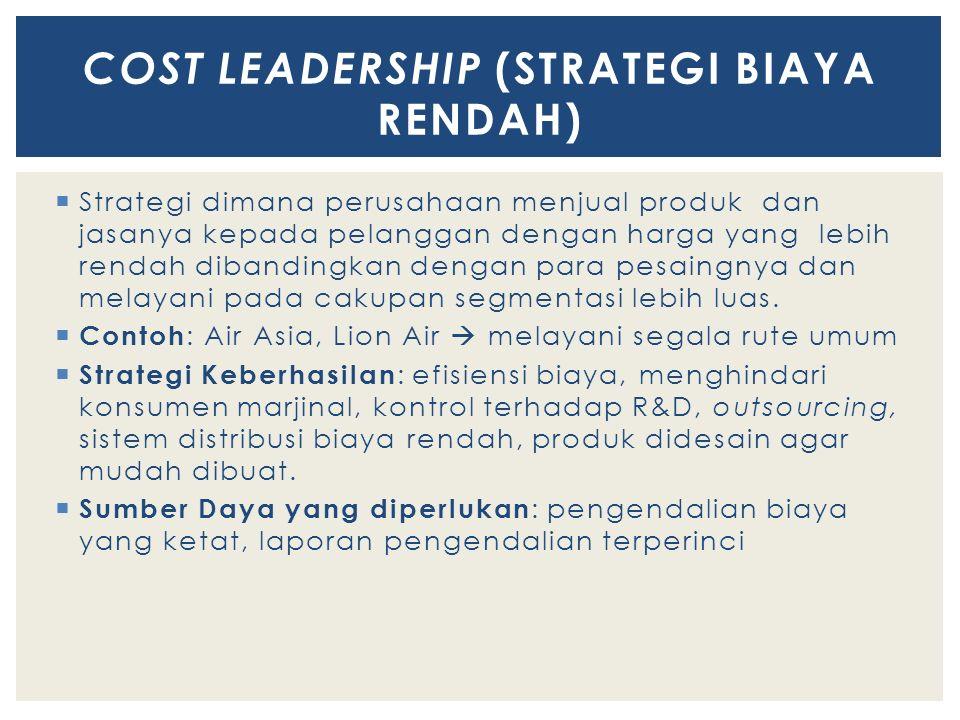 Cost leadership (STRATEGI BIAYA RENDAH)