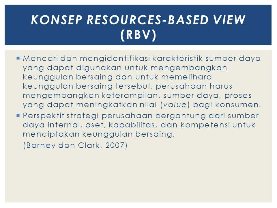 KONSEP RESOURCES-BASED VIEW (RBV)