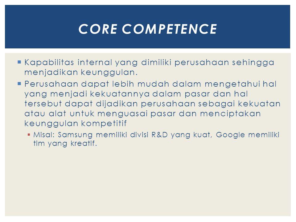 CORE COMPETENCE Kapabilitas internal yang dimiliki perusahaan sehingga menjadikan keunggulan.