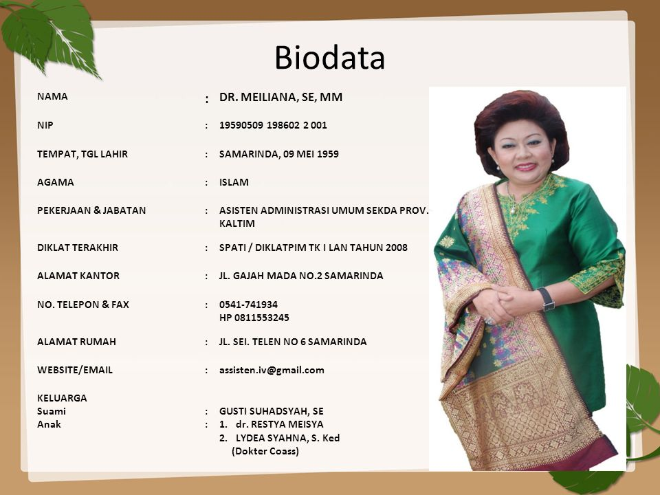 Biodata : DR. MEILIANA, SE, MM NAMA NIP 19590509 198602 2 001