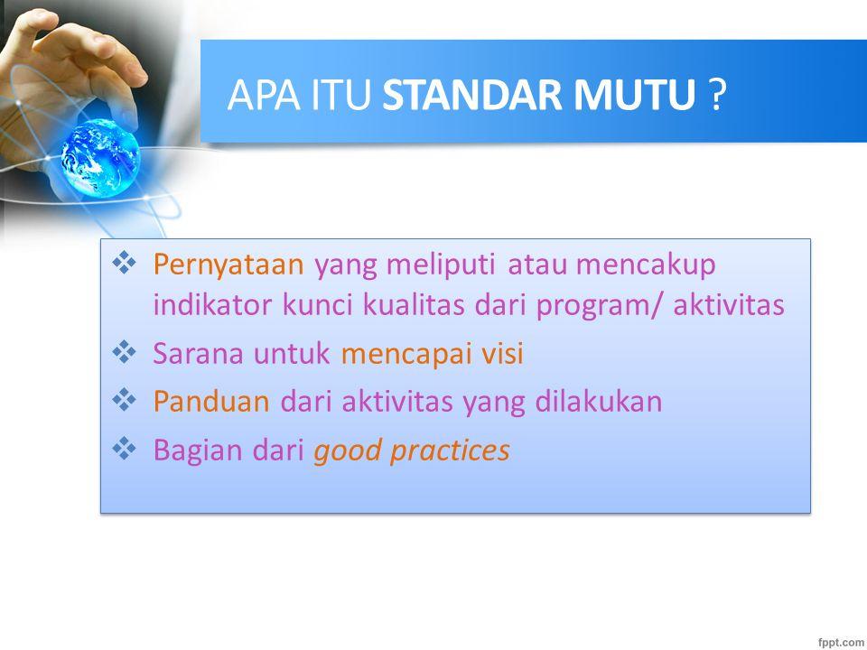 APA ITU STANDAR MUTU Pernyataan yang meliputi atau mencakup indikator kunci kualitas dari program/ aktivitas.