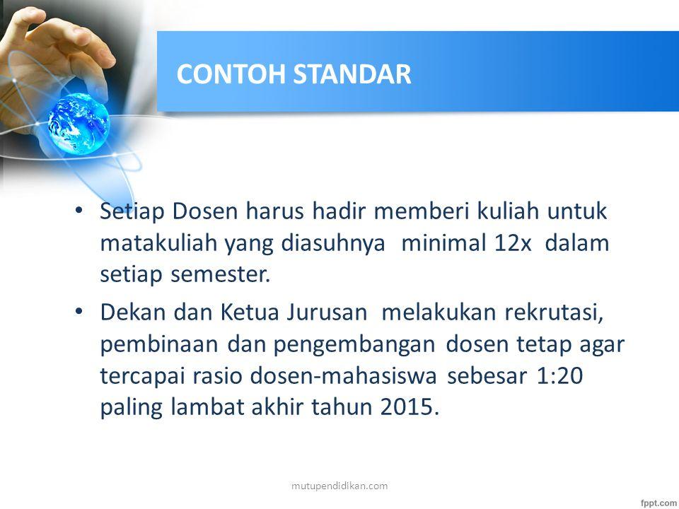 CONTOH STANDAR Setiap Dosen harus hadir memberi kuliah untuk matakuliah yang diasuhnya minimal 12x dalam setiap semester.