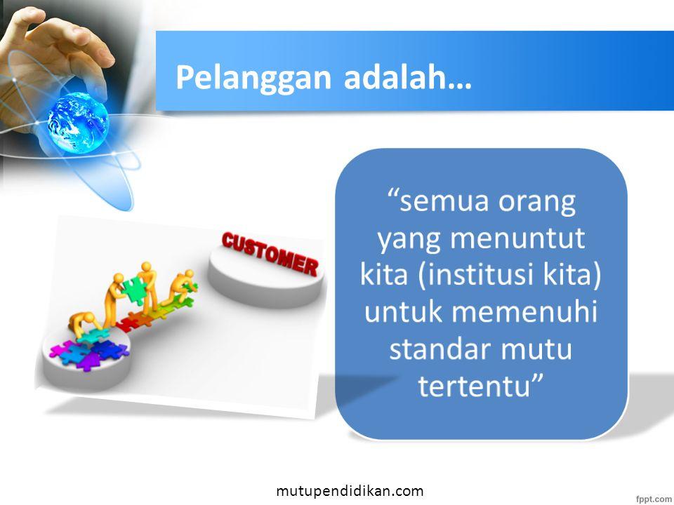 Pelanggan adalah… semua orang yang menuntut kita (institusi kita) untuk memenuhi standar mutu tertentu