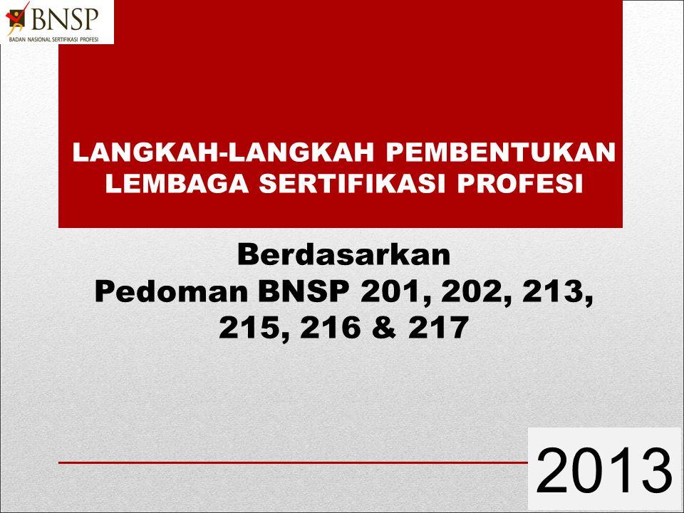 LANGKAH-LANGKAH PEMBENTUKAN LEMBAGA SERTIFIKASI PROFESI Berdasarkan Pedoman BNSP 201, 202, 213, 215, 216 & 217