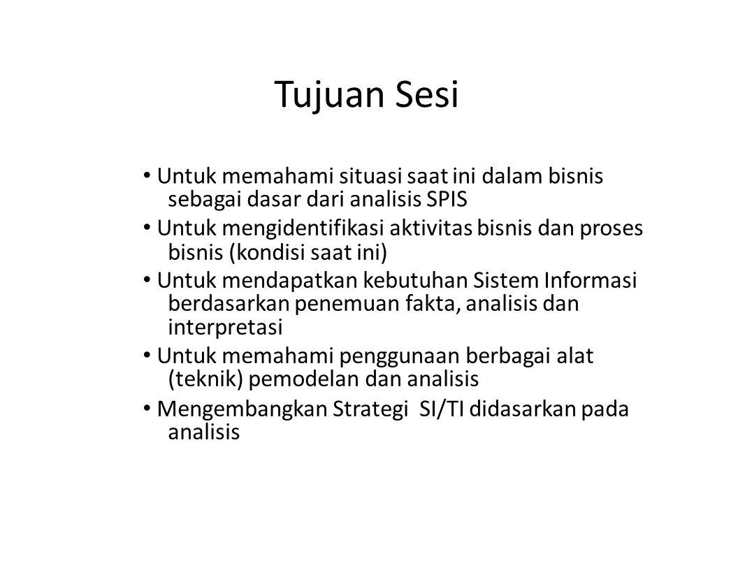 Tujuan Sesi • Untuk memahami situasi saat ini dalam bisnis sebagai dasar dari analisis SPIS.