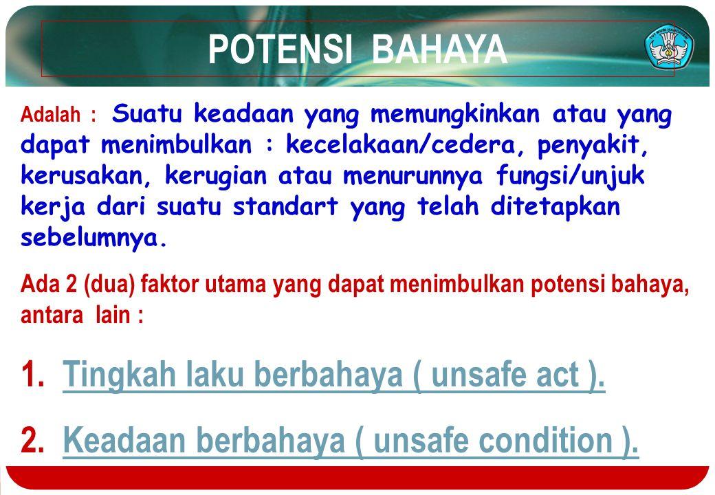 POTENSI BAHAYA 1. Tingkah laku berbahaya ( unsafe act ).