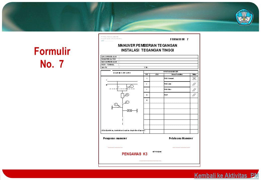 Formulir No. 7 PENGAWAS K3 PENGAWAS K3 Kembali ke Aktivitas PM