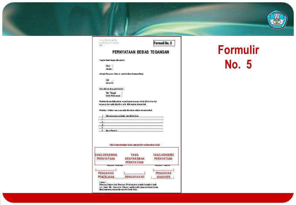 Formulir No. 5 YANG MENERIMA PERNYATAAN (…………………..) PENGAWAS PEKERJAAN