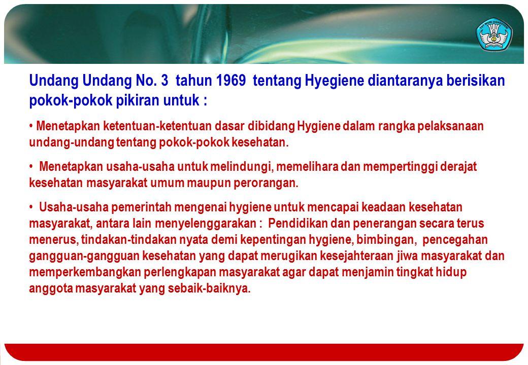 Undang Undang No. 3 tahun 1969 tentang Hyegiene diantaranya berisikan pokok-pokok pikiran untuk :