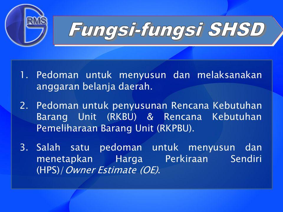 Fungsi-fungsi SHSD Pedoman untuk menyusun dan melaksanakan anggaran belanja daerah.