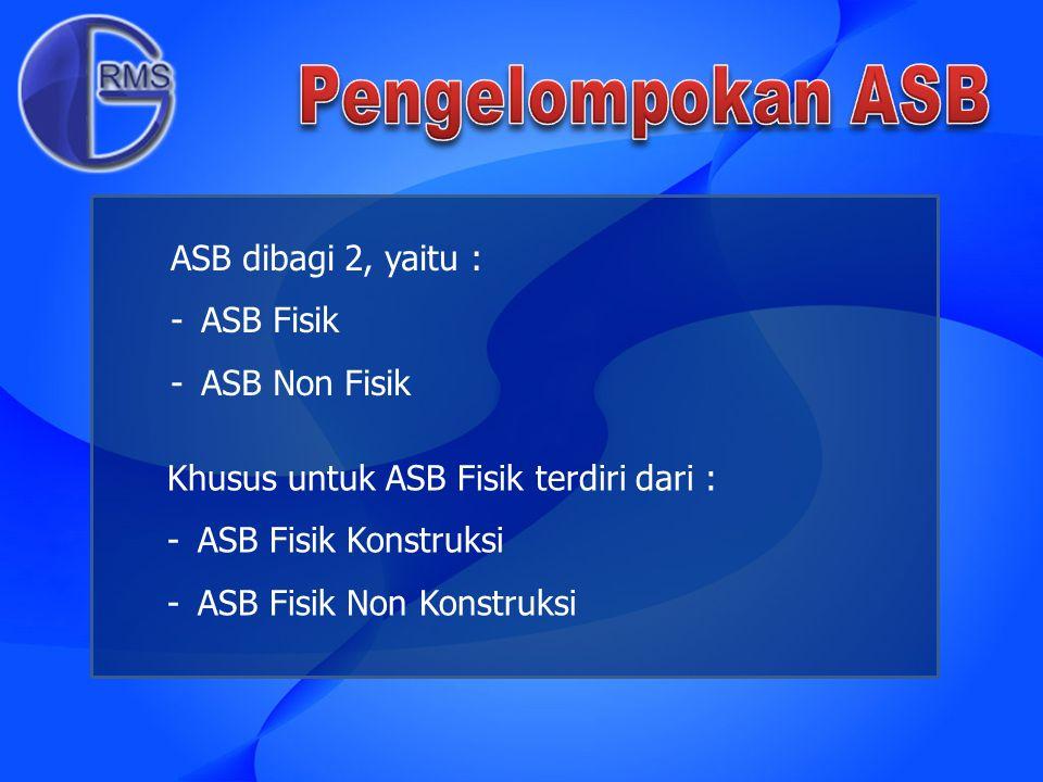 Pengelompokan ASB ASB dibagi 2, yaitu : ASB Fisik ASB Non Fisik