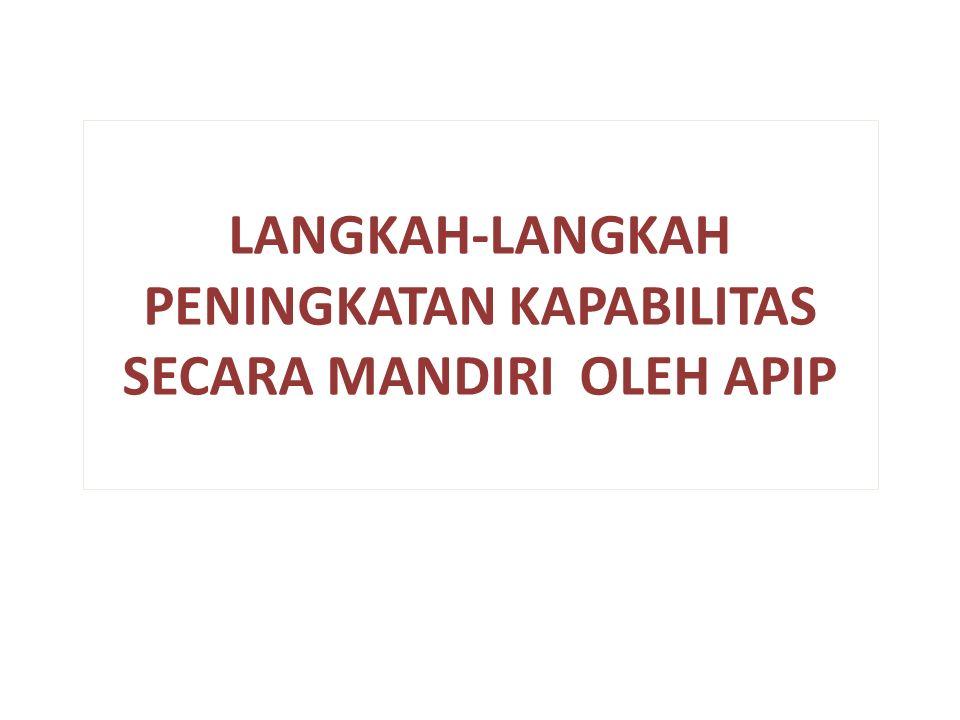 LANGKAH-LANGKAH PENINGKATAN KAPABILITAS SECARA MANDIRI OLEH APIP