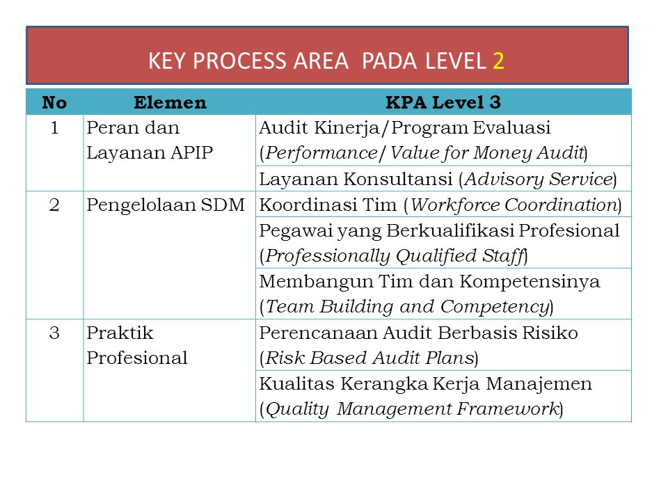 KEY PROCESS AREA PADA LEVEL 2