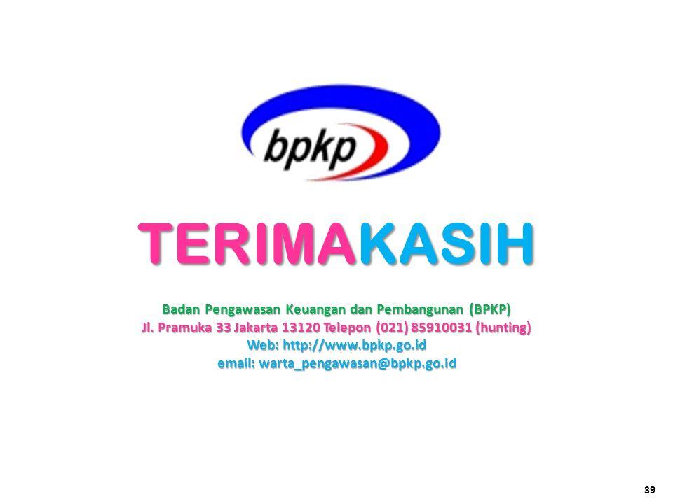 TERIMAKASIH Badan Pengawasan Keuangan dan Pembangunan (BPKP)