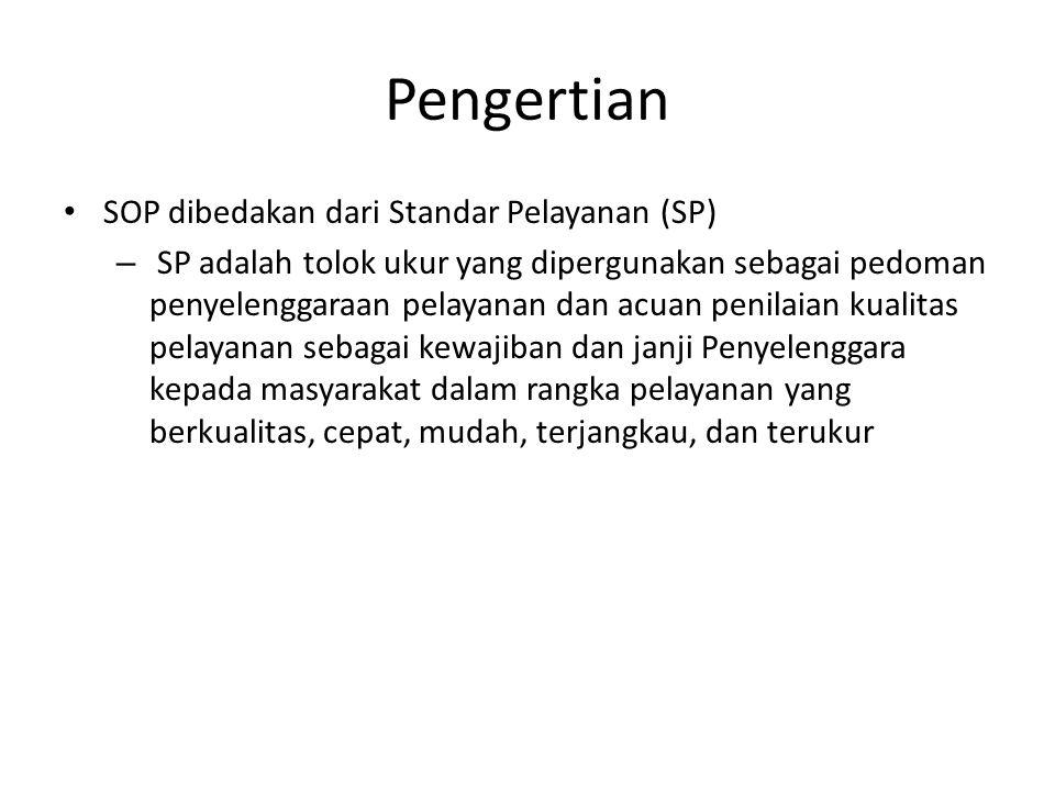 Pengertian SOP dibedakan dari Standar Pelayanan (SP)