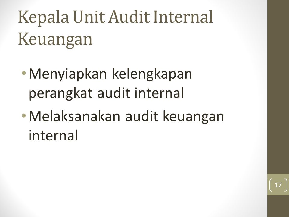 Kepala Unit Audit Internal Keuangan