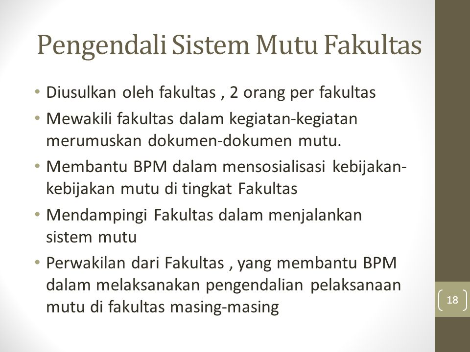 Pengendali Sistem Mutu Fakultas