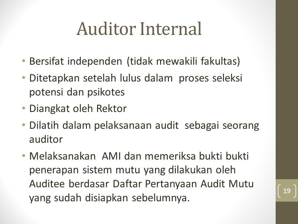 Auditor Internal Bersifat independen (tidak mewakili fakultas)
