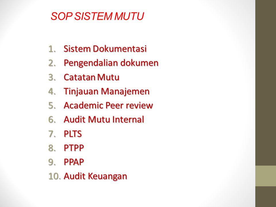 SOP SISTEM MUTU Sistem Dokumentasi Pengendalian dokumen Catatan Mutu
