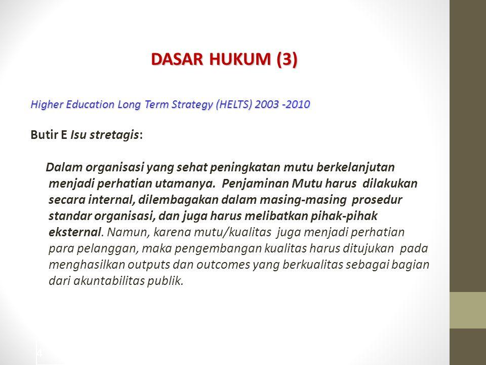 DASAR HUKUM (3) Butir E Isu stretagis: