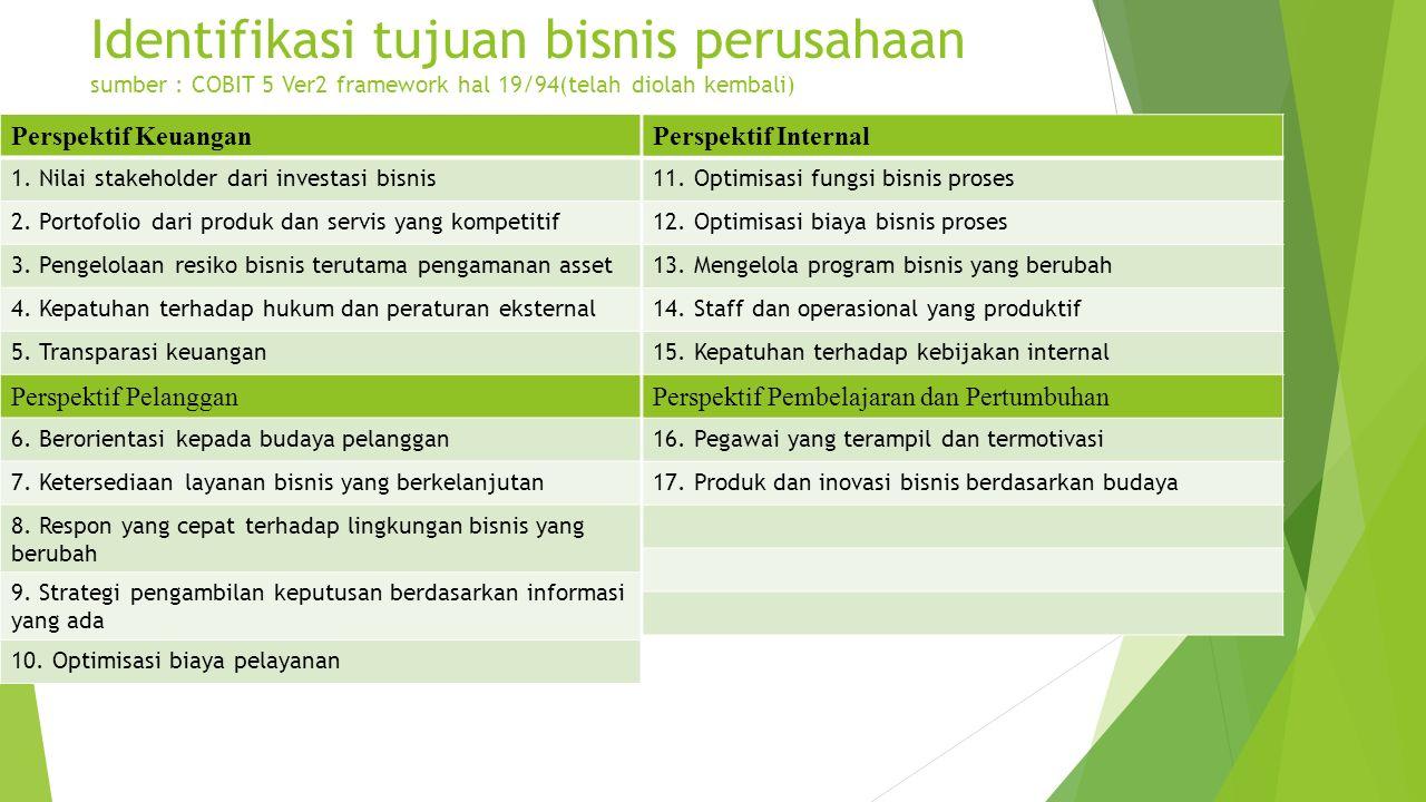 Identifikasi tujuan bisnis perusahaan sumber : COBIT 5 Ver2 framework hal 19/94(telah diolah kembali)