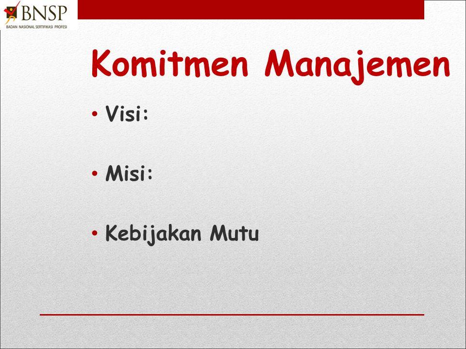 Komitmen Manajemen Visi: Misi: Kebijakan Mutu