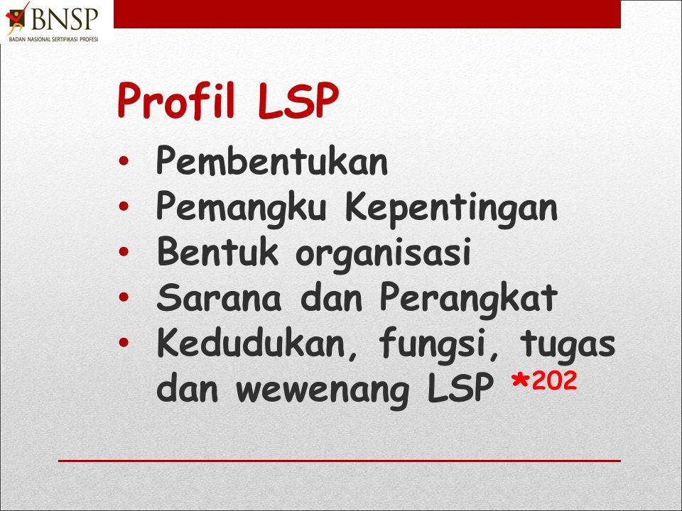 Profil LSP Pembentukan Pemangku Kepentingan Bentuk organisasi