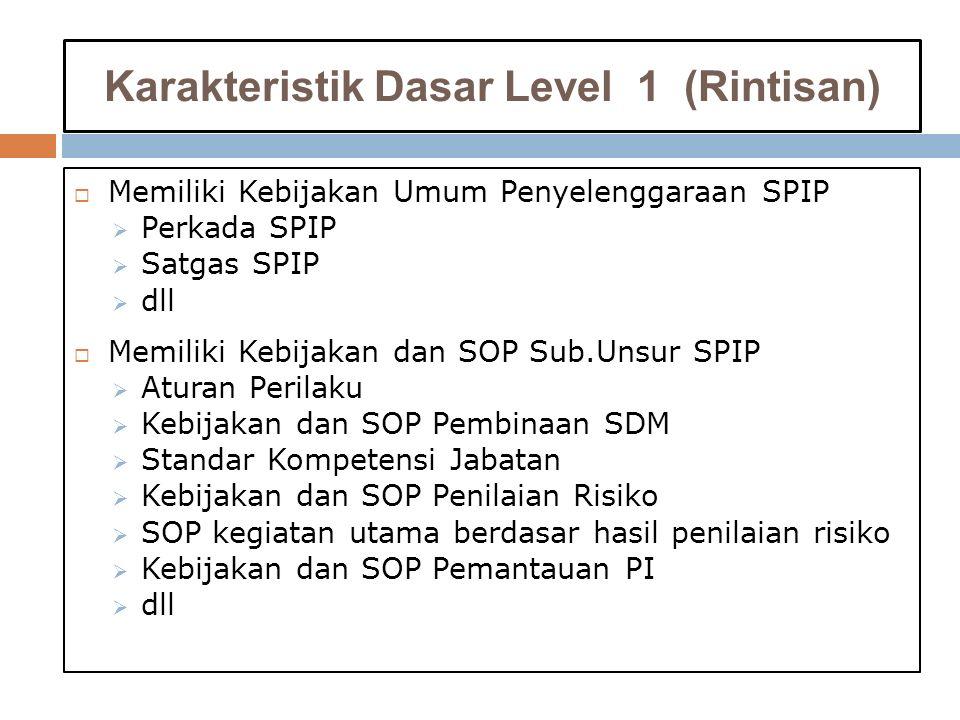 Karakteristik Dasar Level 1 (Rintisan)