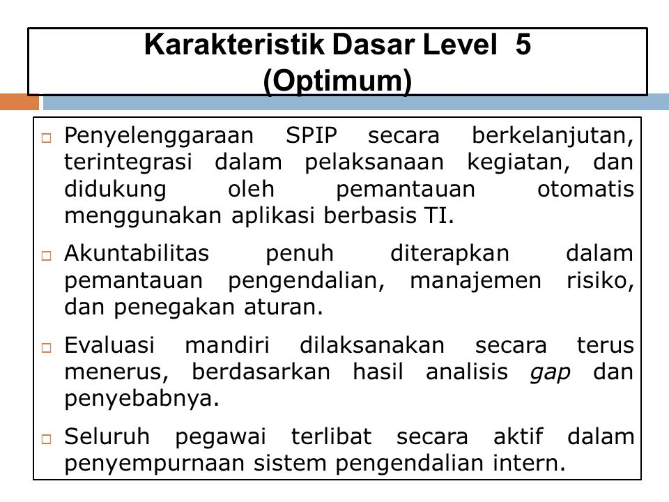 Karakteristik Dasar Level 5 (Optimum)