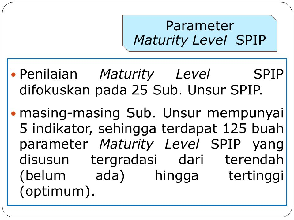 Parameter Maturity Level SPIP. Penilaian Maturity Level SPIP difokuskan pada 25 Sub. Unsur SPIP.
