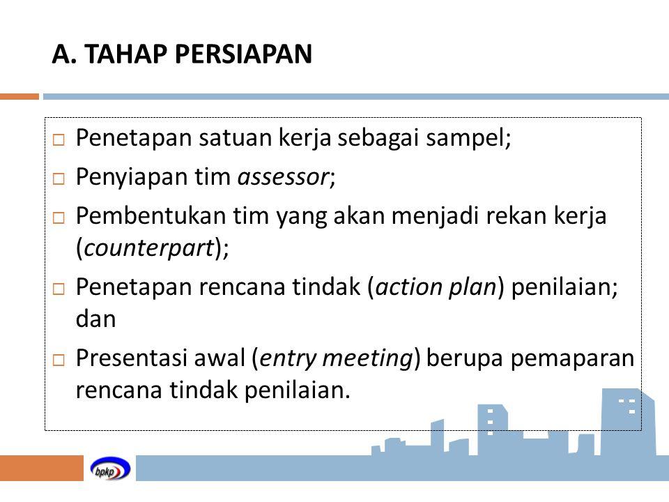 A. TAHAP PERSIAPAN Penetapan satuan kerja sebagai sampel;
