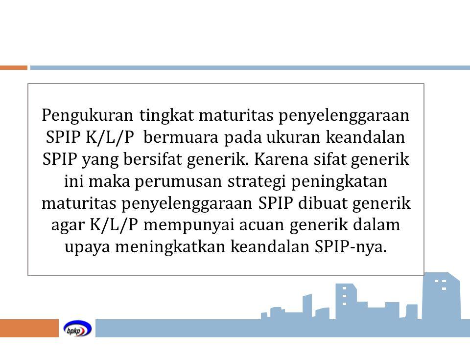 Pengukuran tingkat maturitas penyelenggaraan SPIP K/L/P bermuara pada ukuran keandalan SPIP yang bersifat generik.