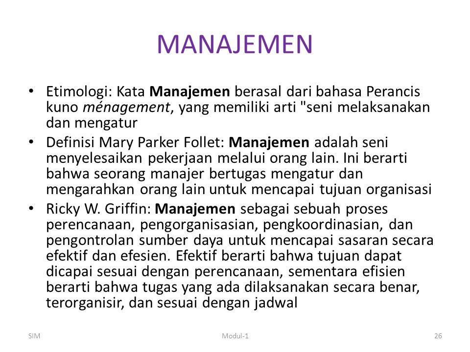 MANAJEMEN Etimologi: Kata Manajemen berasal dari bahasa Perancis kuno ménagement, yang memiliki arti seni melaksanakan dan mengatur.