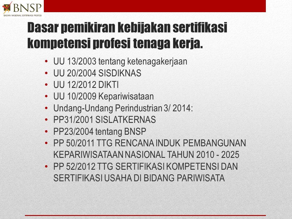 Dasar pemikiran kebijakan sertifikasi kompetensi profesi tenaga kerja.