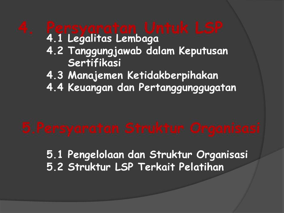 4. Persyaratan Untuk LSP 5.Persyaratan Struktur Organisasi