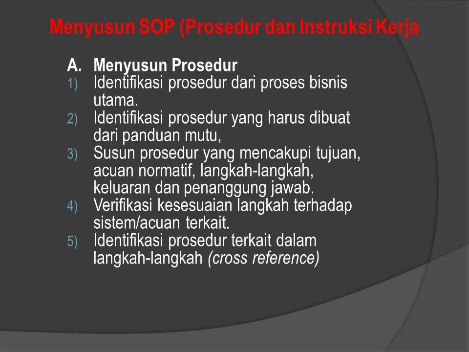 Menyusun SOP (Prosedur dan Instruksi Kerja