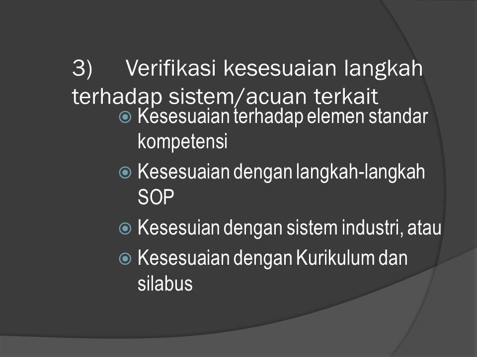 3) Verifikasi kesesuaian langkah terhadap sistem/acuan terkait