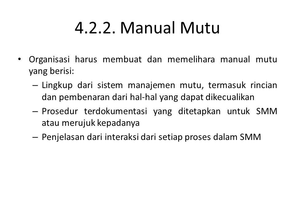 4.2.2. Manual Mutu Organisasi harus membuat dan memelihara manual mutu yang berisi: