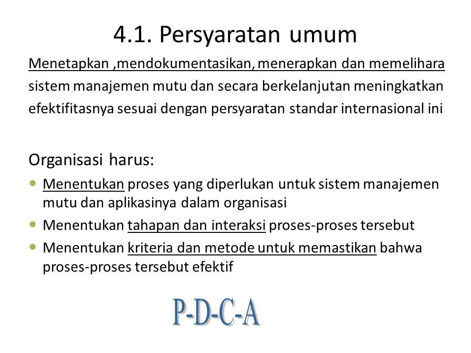 4.1. Persyaratan umum P-D-C-A Organisasi harus:
