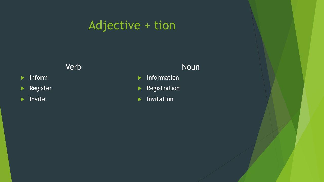 Adjective + tion Verb Noun Inform Register Invite Information
