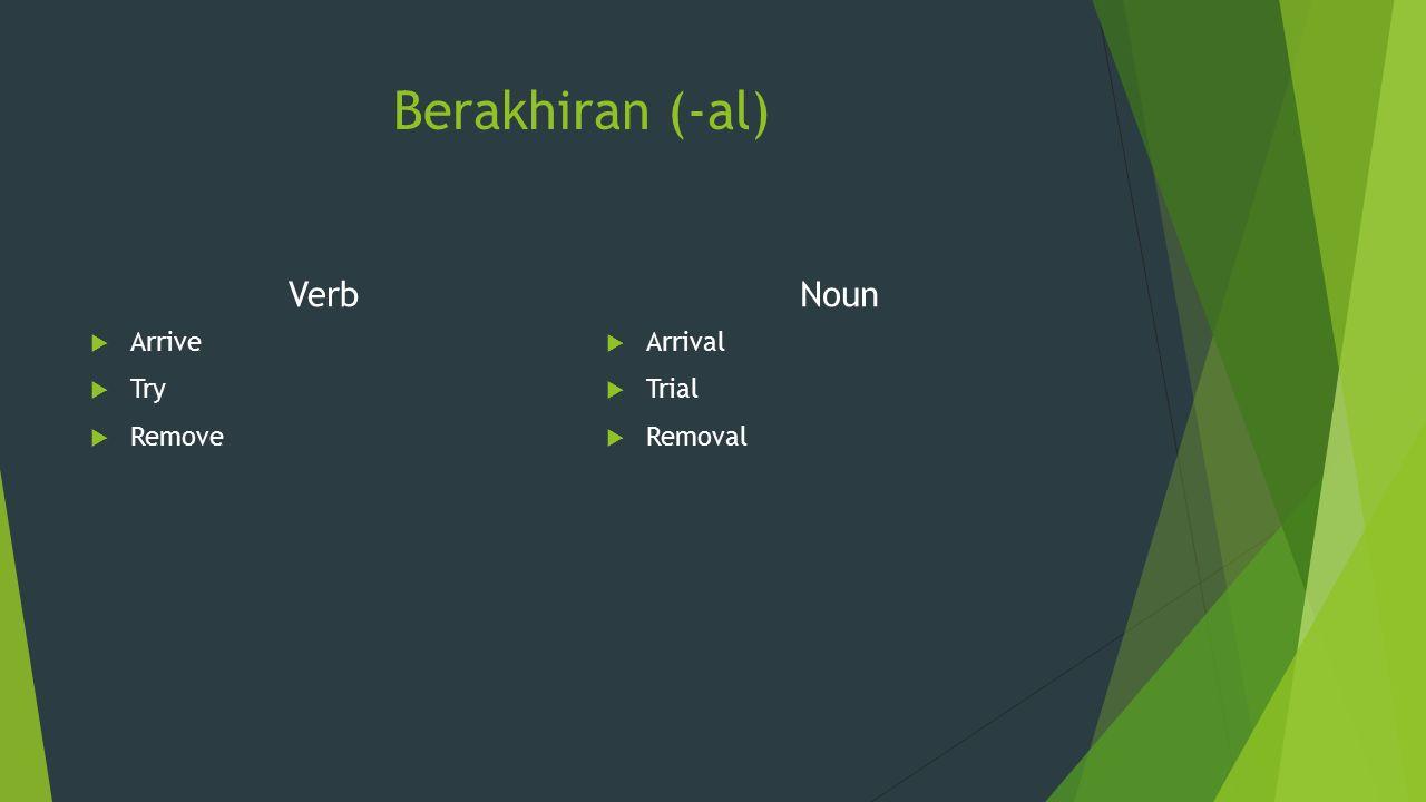 Berakhiran (-al) Verb Noun Arrive Try Remove Arrival Trial Removal