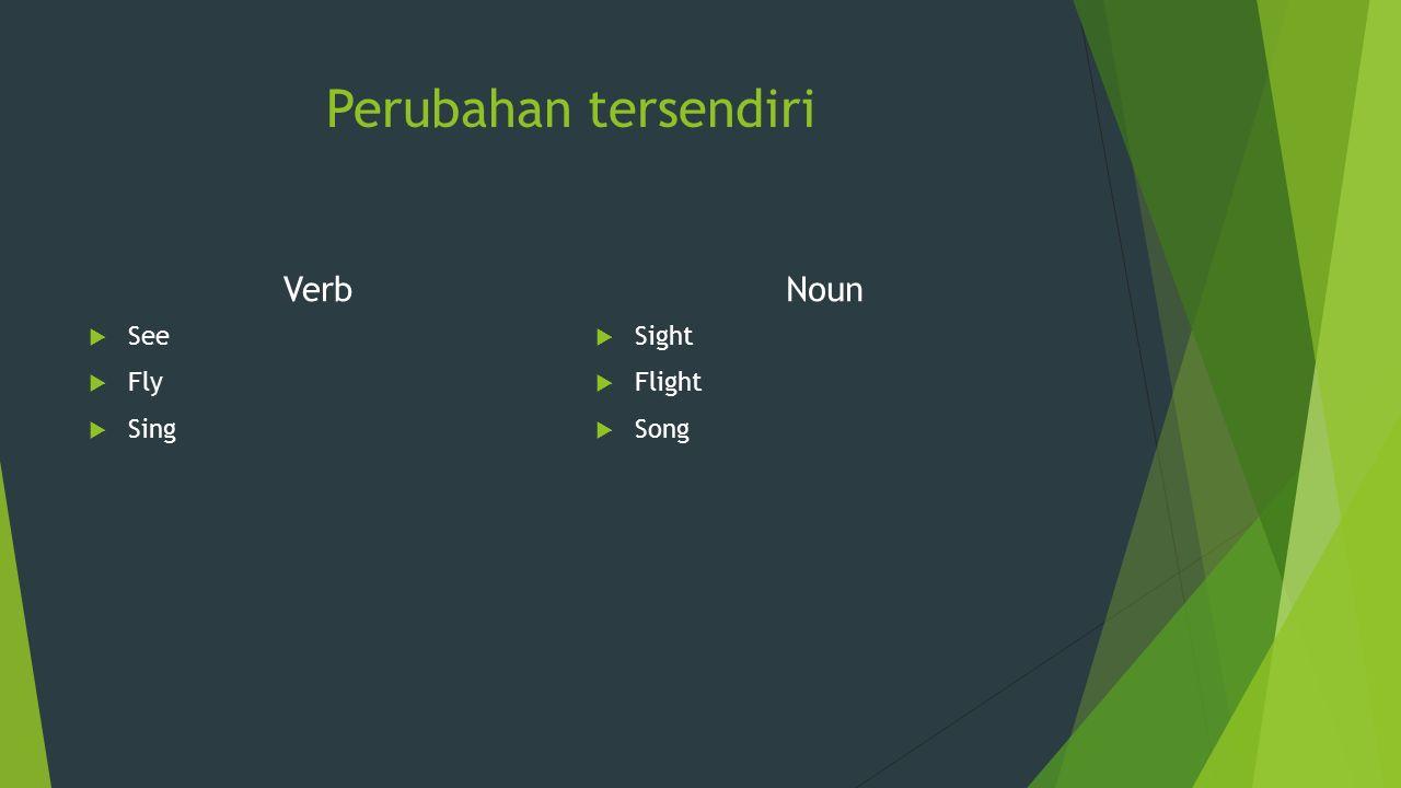 Perubahan tersendiri Verb Noun See Fly Sing Sight Flight Song