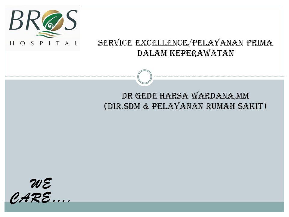 SERVICE EXCELLENCE/PELAYANAN PRIMA DALAM KEPERAWATAN DR GEDE HARSA WARDANA,MM (DIR.SDM & PELAYANAN RUMAH SAKIT)