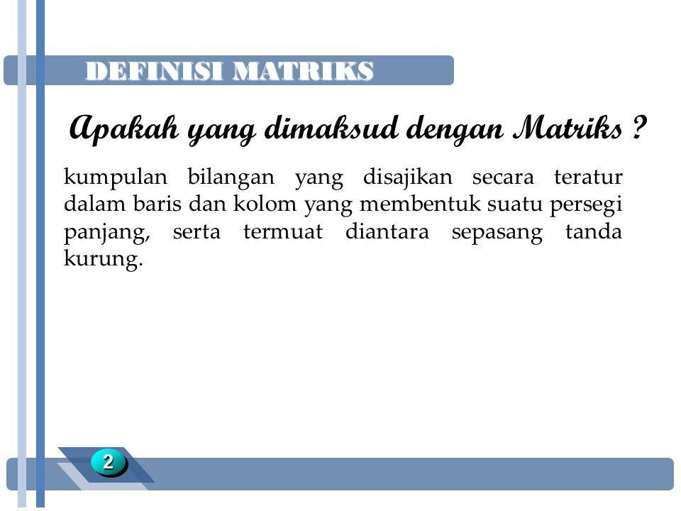 Apakah yang dimaksud dengan Matriks